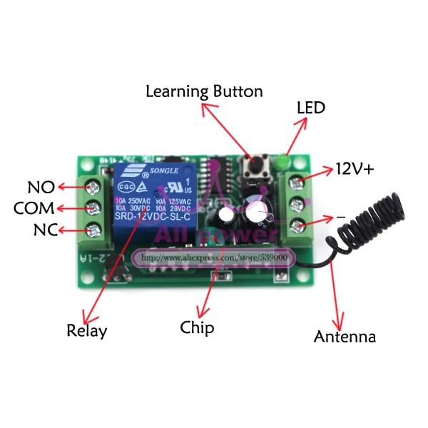 DC 12V relay 1CH 433MHz wireless RF Remote Control Switch Transmitter Receiver