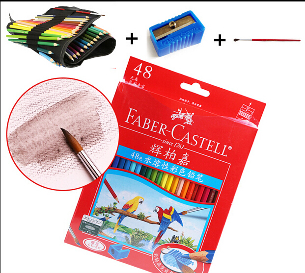Faber Castell Water Soluble Color Pencils 12/24/36/48 Colors Set Eraser & Pencil Bag for free Art Supplies Gift for Kids faber castell 12 24 36 60 colors blue tin lattice water color water soluble colour pencil
