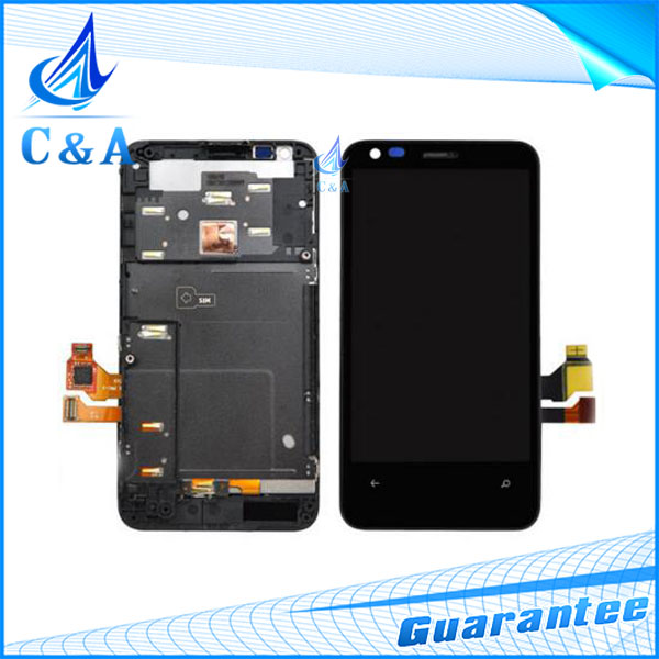 1 piece free shipping black replacement repair part for Nokia Lumia 620 n620 lcd display with touch screen digitizer with frame