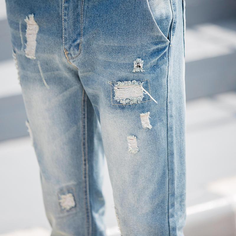 Mens Skinny Slim Fit Motorcycle Washed Vintage Ripped Washed Hip Hop Elastic Denim Pants Biker Jeans