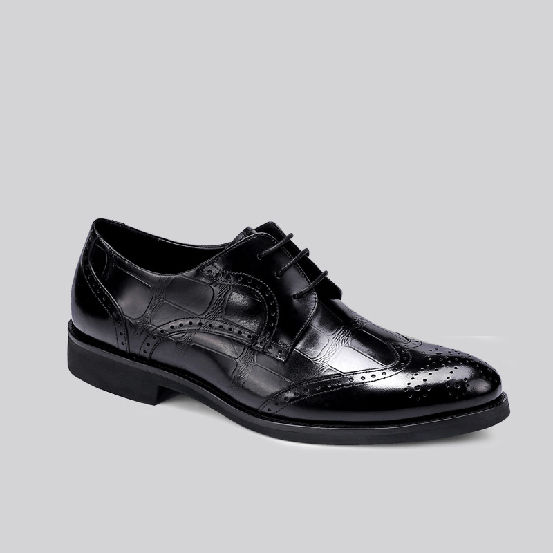QYFCIOUFU Plain Genuine Leather Handmade Dress Shoes For Men luxury italian formal brogue shoes Flat high quality oxford shoes in Formal Shoes from Shoes