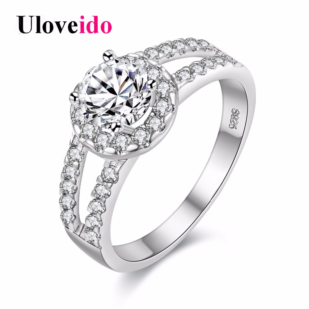 15% off Fashion Wedding Rings Silver Color Gifts for Women Charms Ring Rainbow Mystic Vintage Jewelry Bijouterie Uloveido J510