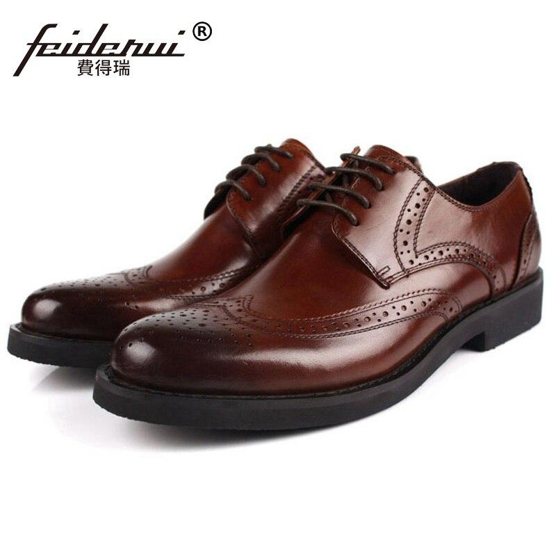 British Designer Platform Man Formal Dress Shoes Vintage Genuine Leather Carved Brogue Oxfords Round Men's Wing Tip Flats OD52
