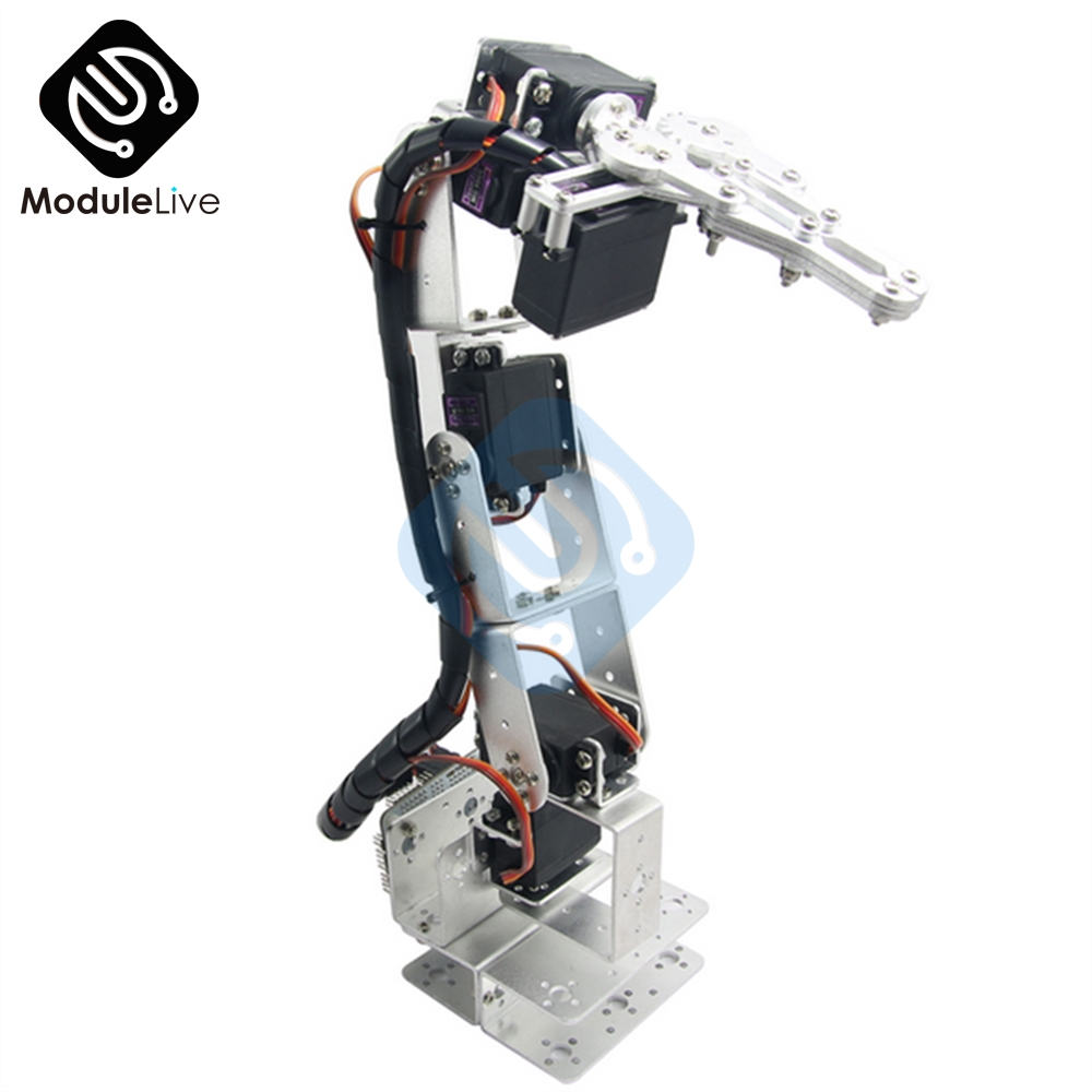Image 3 - ROT3U 6DOF Aluminium Robot Arm Mechanical Robotic Clamp Claw for Arduino Silver-in Instrument Parts & Accessories from Tools