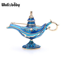 Wuli&baby Red Blue Enamel Aladdin Magic Lamp Light Brooches Women Men 2019 New Fashion Weddings Party Brooch Pins Gifts(China)