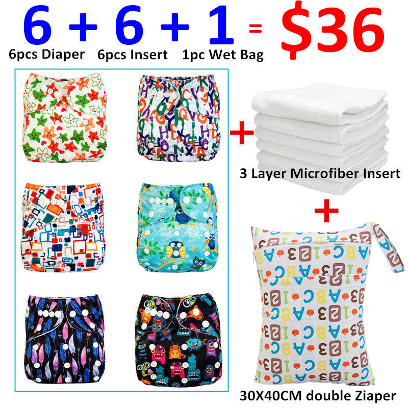 [Mumsbest] New design Baby Cloth Diaper Pack Sale 6pcs Diapers + 6Pcs Microfiber Insert+ 1pc Wet Nappy Bag Baby Care Lot Sale hangqiao baby 3 layers white burp cloths cloth diapers cotton diapers diapers diaper