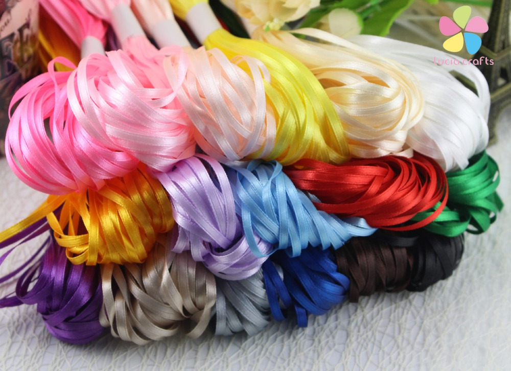 1 8 3mm multi colors option satin ribbon for packing and bow garment accessories 20y lot