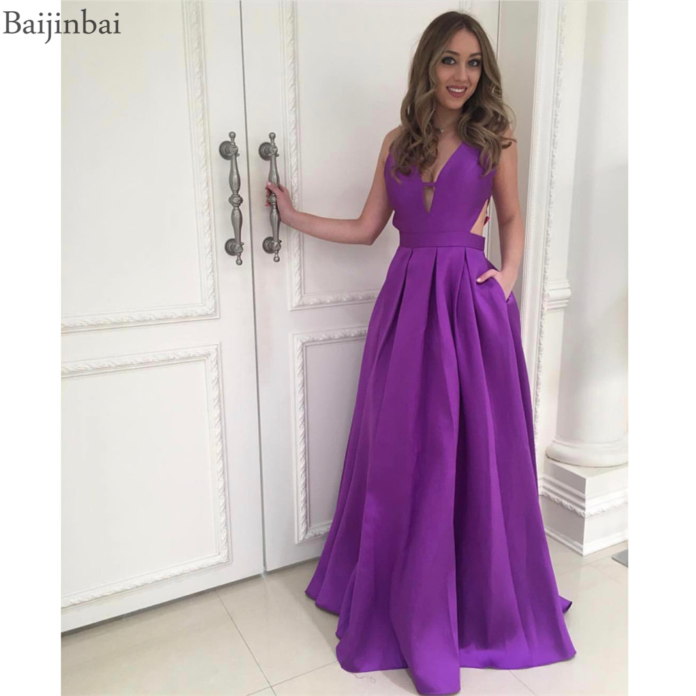 Baijinbai a-ligne col en v soirée Robe de bal poches Simple longue Satin robes de fête Robe de Graduation Robe de festa robes longo