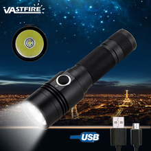 10W 800 lumen T6 LED USB Rechargeable Military Hunting Flashlight IP65 Torch Camping Lamp 4 Modes High-Low-Strobe-sos