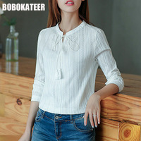 BOBOKATEER Cotton Shirt Women Blouses Long Sleeves White Blouse Women Tops Blusas Mujer De Moda 2017