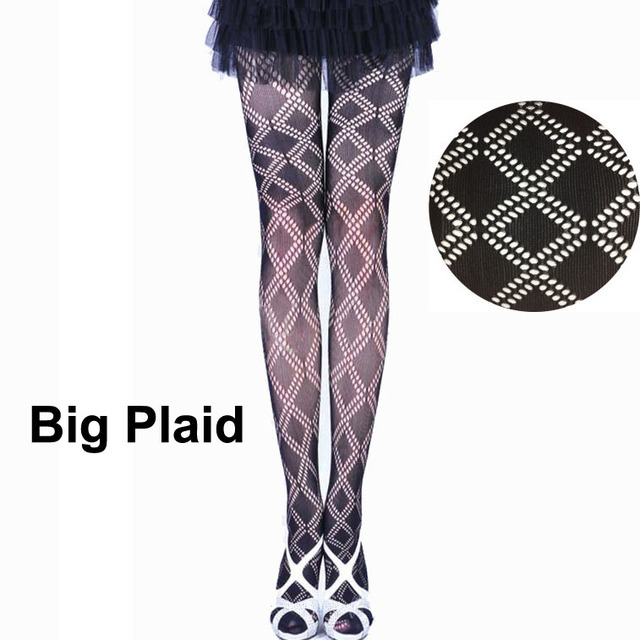 423946ca78010 LIMSISNIW Fashion Black Big Plaid Slim Looking Design Women Fishnet Nylon  Tights Young Lady Patterned Pantyhose Ladies Stockings