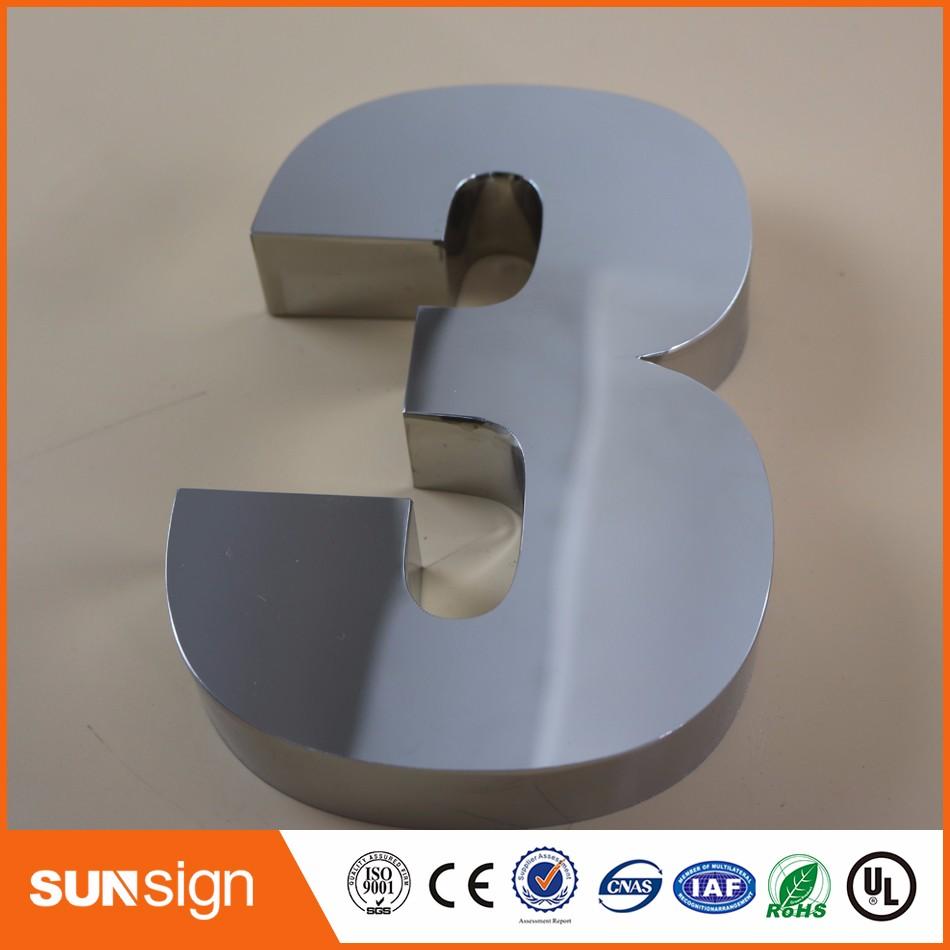 0-9 Modern House Numbers Stainless Steel Number Digits Door Letters Room Gate Number New