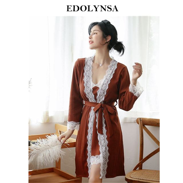 2019 Sexy Twinset Sleepwear Women Night Wear Satin Robe Gown Sets Elegant  Lace Bathrobe Kimono Nightie Lace Peignoir Set H857 2992891e6