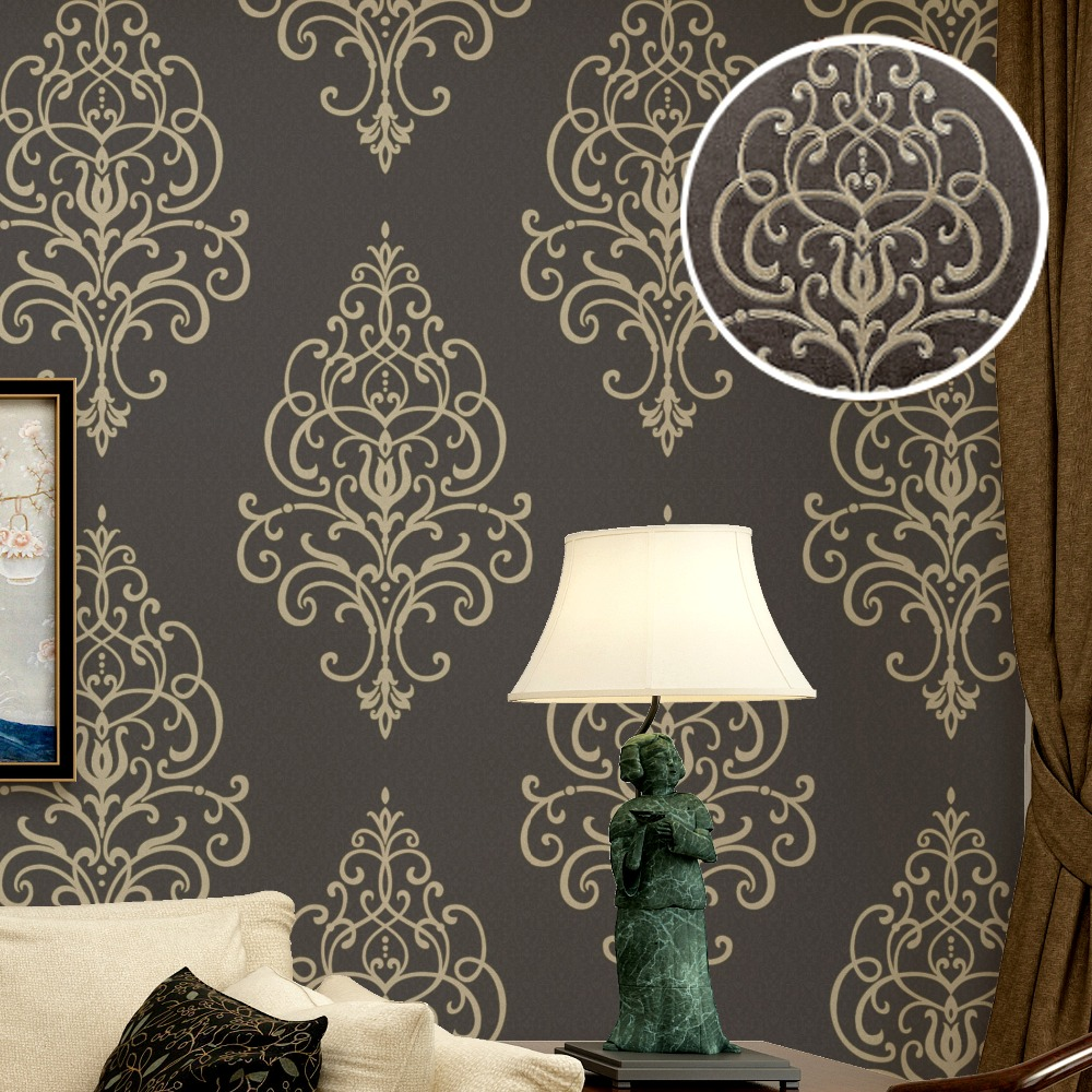 Online buy wholesale wall stencil wallpaper from china wall new 3d embossed texture large damask wallpaper roll gold brown vintage luxury stencil french wall paper amipublicfo Choice Image