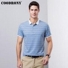 купить COODRONY Casual Short Sleeve T-Shirt Men Cotton T Shirt Men Clothing 2019 Spring Summer Plus Size Turn-down Collar Tshirt S95118 дешево