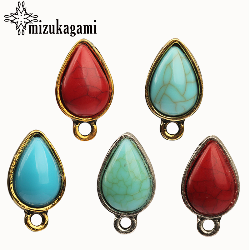 9*16mm 10pcs/lot Turquoise Tear Water Drop Shape Earring Base Earring Connector For DIY Earrings Accessories