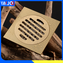цена на Floor Drain Gold Cover Square Balcony Washroom Bathroom Shower Drainer Strainer Anti-odor Brass Tile Insert Floor Waste Grates
