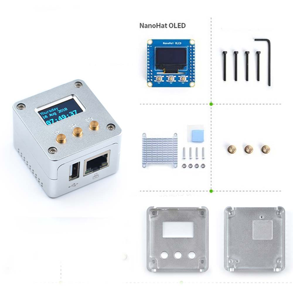 2019 NEW Complete Starter Kit Support NanoPi NEO/NEO2 All Metal Aluminum Shell, With NanoHat OLED Display