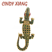 CINDY XIANG New Arrival 2 Colors Available Rhinestone Crocodile Brooches Vintage Animal Pins Trendy Jewelry Party Accessories