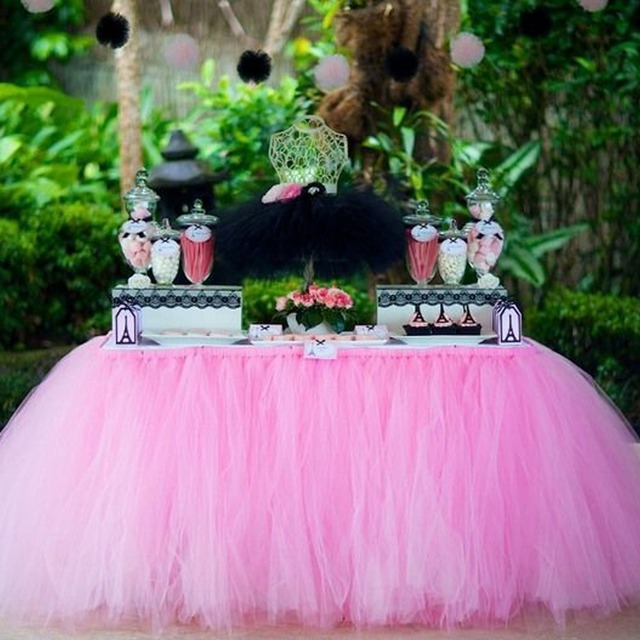 1Pcs 15 Colors Tulle Table Skirt DIY Tutu Tableware Skirts For Wedding Birthday Decoration Baby Shower