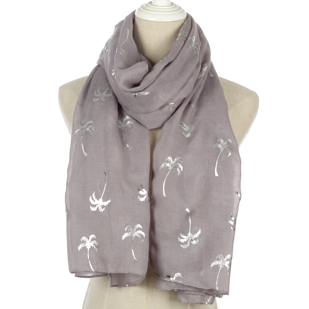 FOXMOTHER 2018 New Spring Summer White Grey Navy Coconut Tree Shiny Silver Foil Scarf Glitter For Womens
