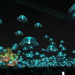 Крытый Открытый IP65 Водонепроницаемый многоцветный медузы красочные светодиодный волоконно-оптический свет для сада
