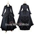 Черный С Длинным Рукавом Стенд Воротник ROCOCO Бал Выросло Готический Средневековый Викторианской Dress Хеллоуин Костюм