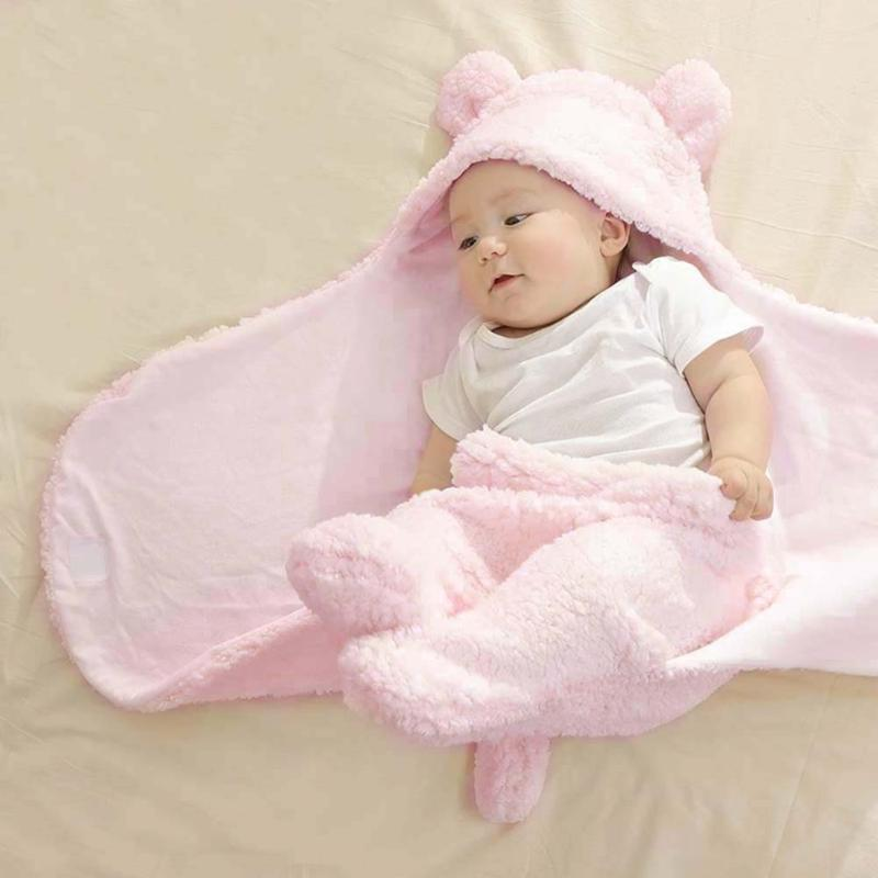 Cute Baby Blankets Soft Warm Ears Infant Toddlers Swaddle Wrap Fleece Cotton Newborn Sleeping Bag Winter Baby Bed Quilt Envelope