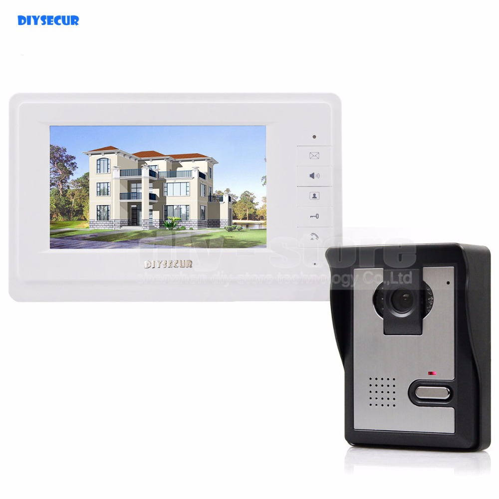 DIYSECUR 600TVLine HD Camera High Quality 7 inch TFT Color LCD Display Video Door Phone Intercom Doorbell Night Vision diysecur 1024 x 600 7 inch hd tft lcd monitor video door phone video intercom doorbell 300000 pixels night vision camera rfid