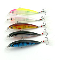 HENGJIA 10 Pieces Fishing Lure 11CM 14G Minnow Wobbler Diving 0 5 1 5m Feather Hook