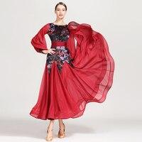 Modern Dance Dress Royal Long Sleeve Waltz Standard Competition Dress Standard Ballroom Dancing Clothes Performance Wear DQS2171