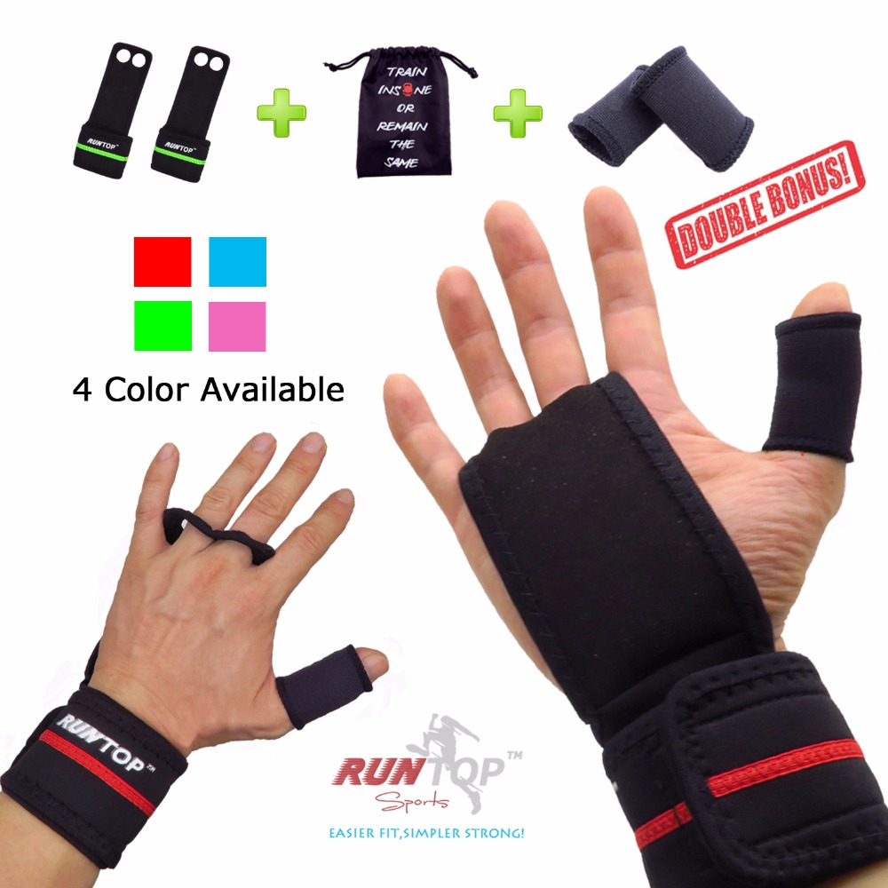 RUNTOP Workout Fitness GYM Gewichtheffen Crossfit Handschoenen Lederen Handgrepen Pad Palm Beschermen Polssteun Wrap Strap Brace