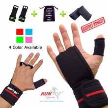 RUNTOP Workout Fitness GYM Weight Lifting Crossfit Gloves Leather Hand Grips Pad Palm Protect Wrist Support