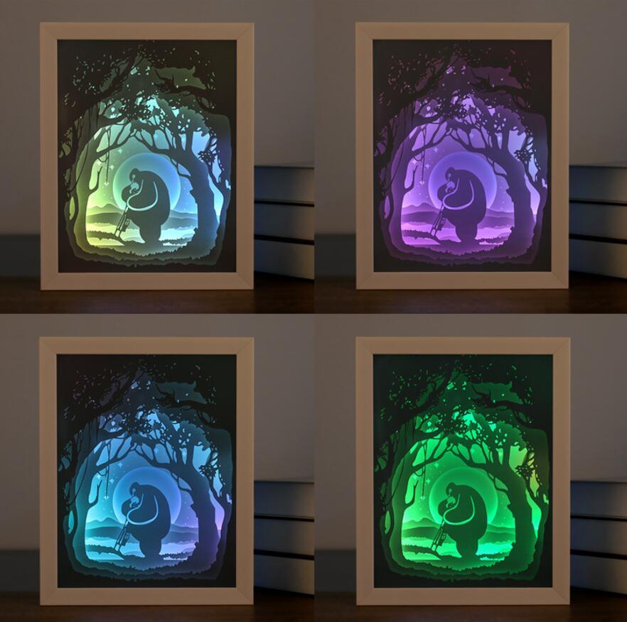 USB צבעוני 3D צל מסגרת תמונה נייר לחתוך עץ לילה אור לחתונה מסיבת מקלחת תינוק מזכרות מתנת יום הולדת לטובת