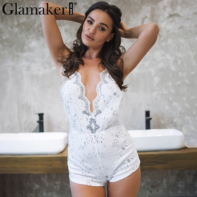 ace3b46ace7 Glamaker Sequin sexy v neck jumpsuit romper Women strap backless mesh  bodycon Winter playsuit feme beach