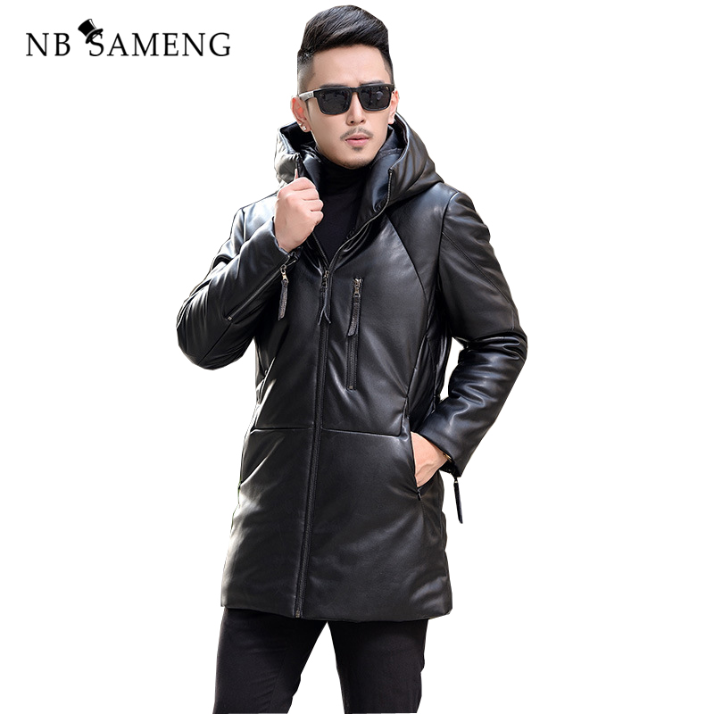 2018 New Fashion Winter Brand Men Leather Jacket Hooded Long Leather Coat Genuine Leather Jackets Free Shipping