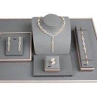 Blucome CZ Циркон Листья африканские комплекты украшений для женщин 4 шт. Свадебные помолвки Дубай ожерелье браслет из серьги набор