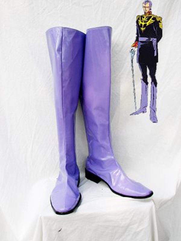Gundam Seed Gihren Zabi Purple Cosplay Boots Shoes Anime Party Cosplay Boots Custom Made for Adult Men Shoes