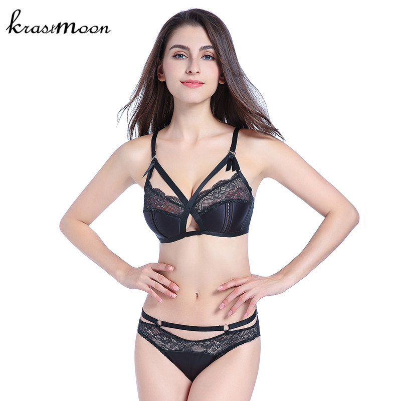 fd65a27e0d87d women Sexy Lace Comfortable Push Up Bra Sets High Quality Wire Free Bra And  Panty Hollow