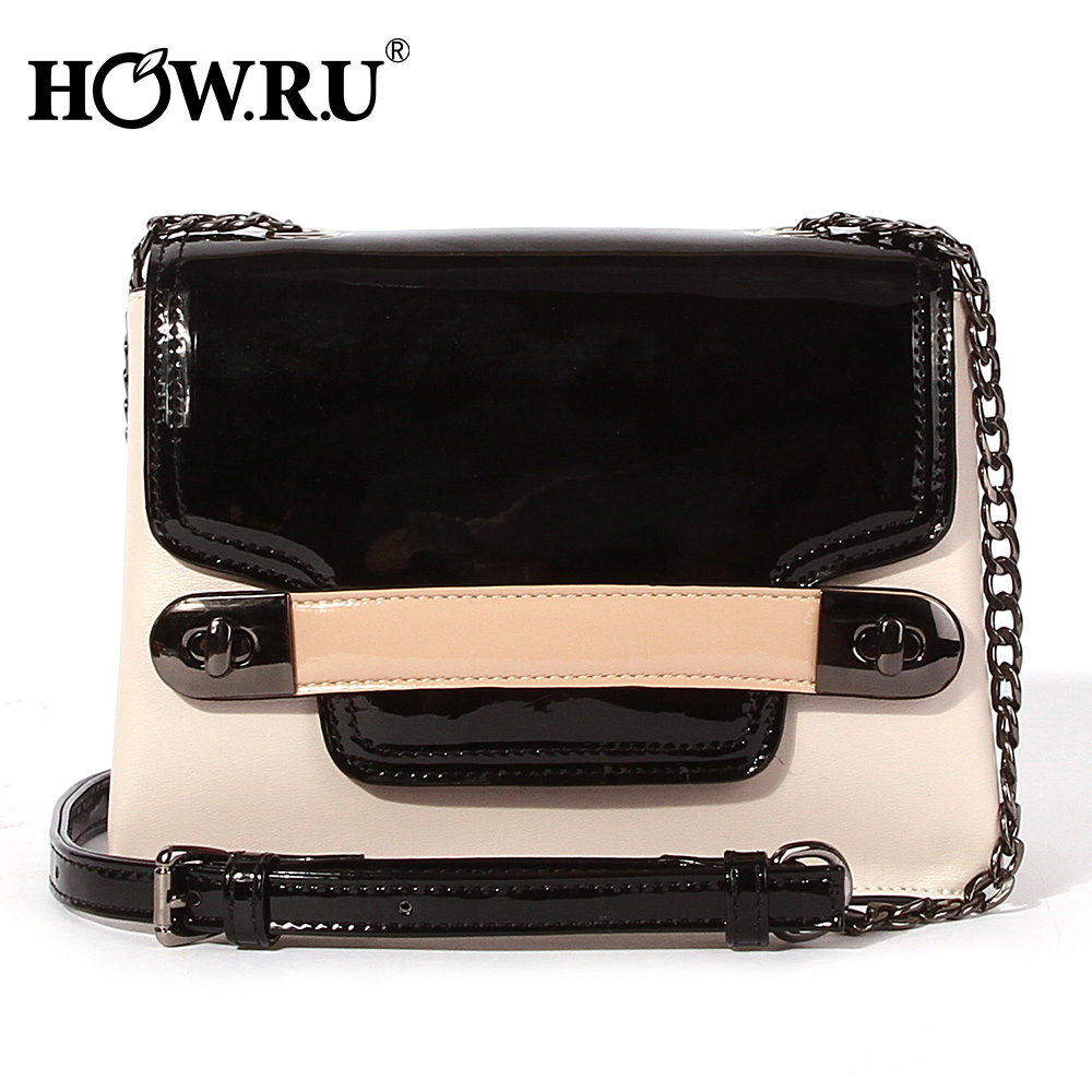 HOWRU Small Flap Bags For Women 2019 Luxury Handbags Women Bags Designer Patchwork PU Leather Chains Shoulder Messenger Bags