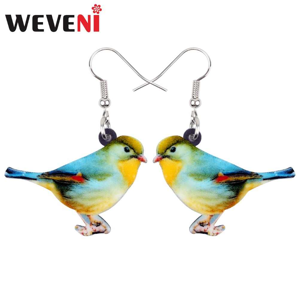 WEVENI Acrylic Lovely Floral Red-billed Leiothrix Bird Earrings New Long Dangle Drop Fashion Animal Jewelry For Women Girls