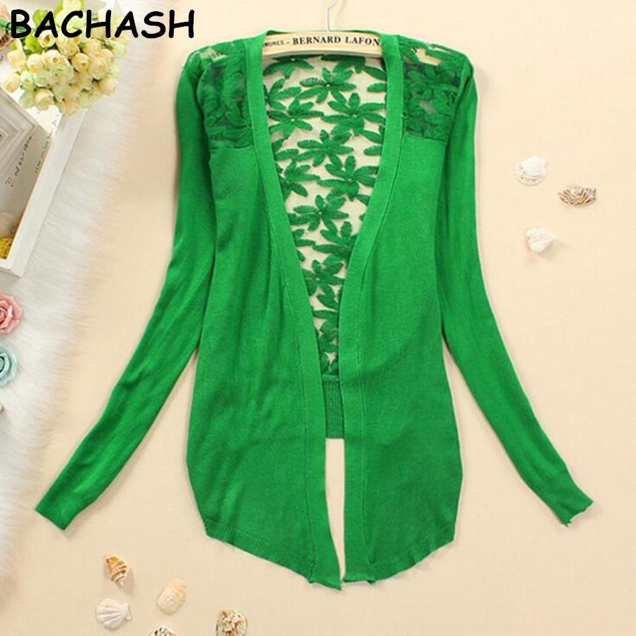 BACHASH <font><b>New</b></font> Style 2017 Summer Autumn Jackets Girl <font><b>Women's</b></font> <font><b>Lace</b></font> Sweet Candy Color <font><b>Crochet</b></font> <font><b>Knit</b></font> Blouse Sweater Cardigan Outerwear