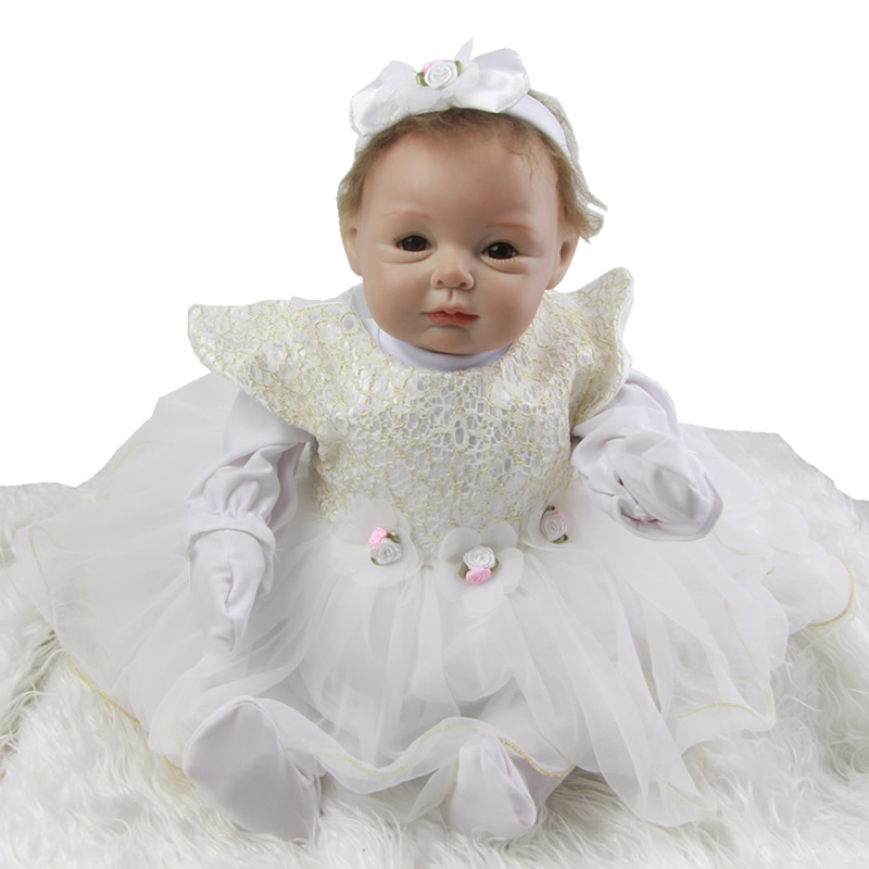 2016 Fashion Reborn Baby Dolls 22 Inch Newborn Babies Doll Toy Princess Realistic Girl With White Dress Kids Birthday Xmas Gift