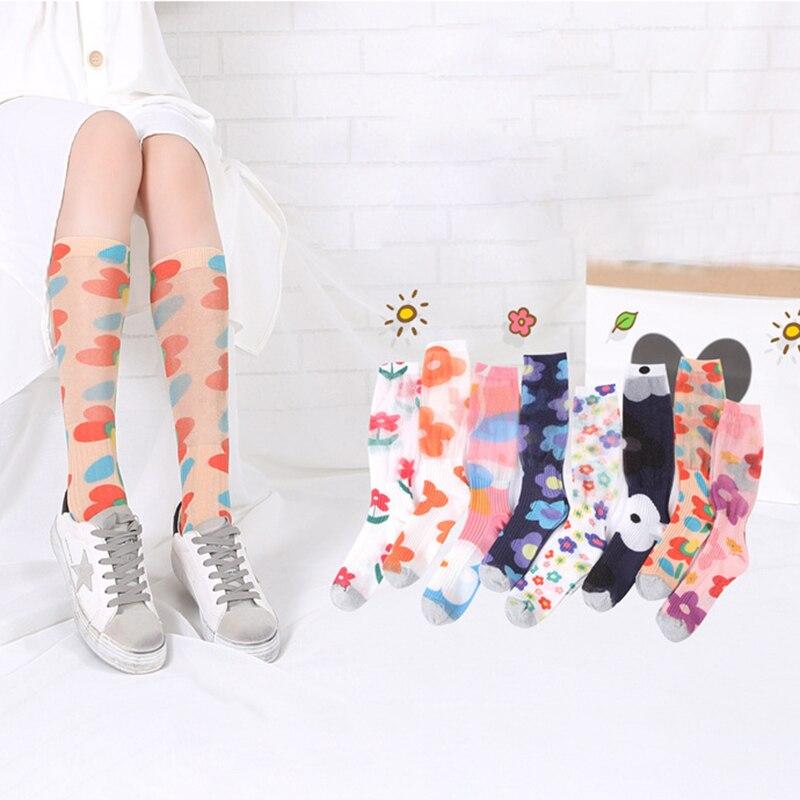 Fashion 3D Print Flower Socks For Women Shine Graffiti Painted Puff Funny Socks Girls Streetwear High Knee Socks Female Long Sox