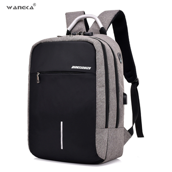 WANGKA Anti Theft Laptop Backpack for Men 15 inch Notebook Bagpack With USB Charging Fashion Travel Duffel Backpack Women laptop bag