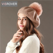 VISROVER new beret hat female winter knitted wool cap fake fur pompom solid color top quality Women Boina Feminina