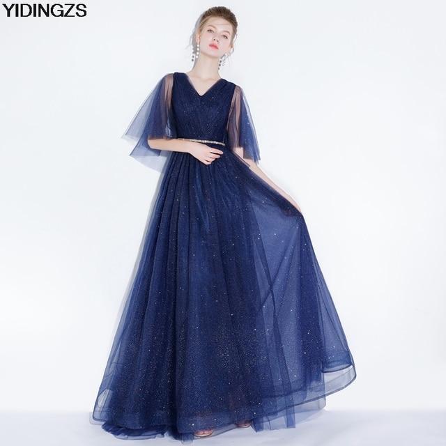 YIDINGZS Navy Blye Sparkle Long Evening Dress Bling Bling V-Neck Pleat Maxi  Evening Party Dress 191d9e171d1a