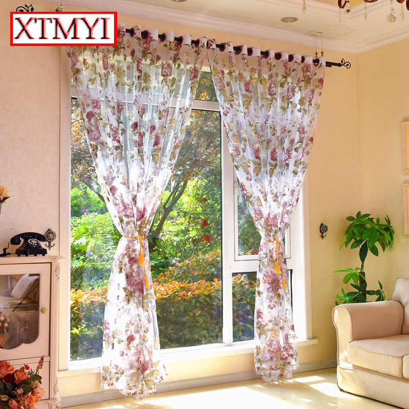 European Style Purple Floral Tulle Curtains For Living Room Bedroom Kitchen  Modern Blinds Chinese Curtains Custom