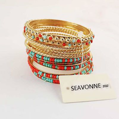 Freeshopping New fine folk style of colored beads vintage  Bohemian Style  metal Beads bangles and bracelets dropshipping  B6812