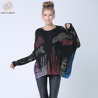 Chictorso Women Oversized Sweaters Pullover Batwing Sleeve Slouchy Metallic Print Ripped Sweater Hollow Out Jumper Top Knitwear